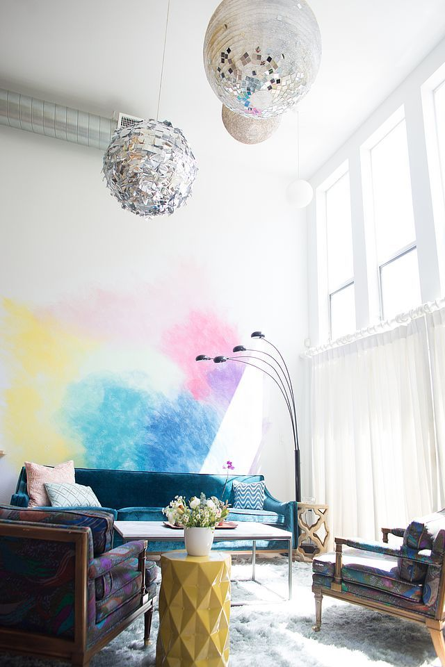 Diy Watercolor Mural Wall Mr Kate Room Wall Decor Wall