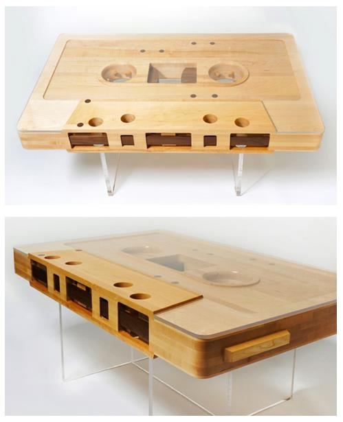 Awesome coffee table! (Don't know the source, but if anyone finds it, please let me know.): Coffe Tables, Ideas, Coffee Tables, Stuff, Cool Things, Cassette Tape, Innovation Products, My Friends, Design