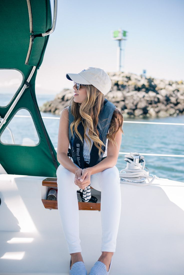 Gal Meets Glam Sail Away With Me - Gant top, Amour Vert Striped Tee, Old Navy jeans, Tuckernuck hat, & Rayban sunglasses
