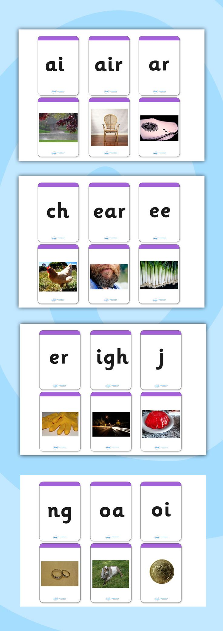 Twinkl Resources >> Phase 3 Photo Matching Cards Image to Sound>> Printable resources for Primary, EYFS, KS1 and SEN.  Thousands of classroom displays and teaching aids! Literacy, English, Letters and Sounds, Matching Cards, Activities, Phase 3