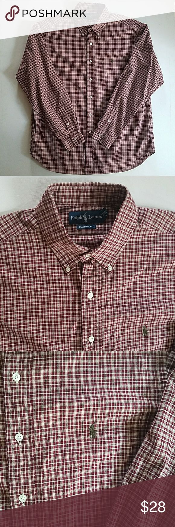 POLO RALPH LAUREN men's plaid shirt sz. 17 XL Excellent condition soft cotton burgundy and cream plaid with olive colored jockey embroidery on the chest. Size 17 neck or extra large men's Polo by Ralph Lauren Shirts Casual Button Down Shirts