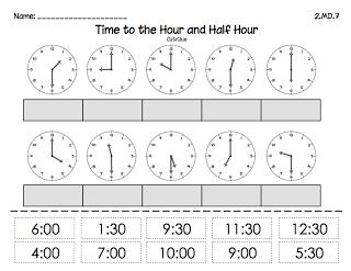 Classroom Freebies Too: Time to the Hour and 1/2 Hour