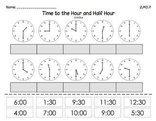 Classroom Freebies Too: Time to the Hour and 1/2 Hour