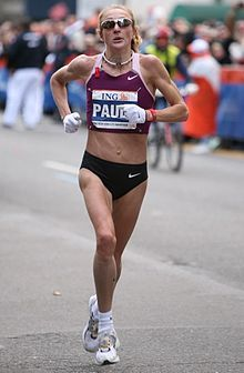 Paula Radcliffe! Don't understand, though, why women race in panties and men race in shorts. Men should race in Speedos.