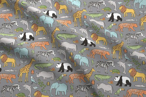 Animal Lion Tiger Zoo Spoonflower Fabric by the Yard