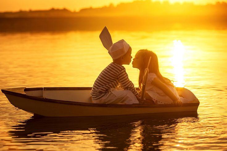 Dzieci, Łódka, Zachód, Słońca, Jezioro