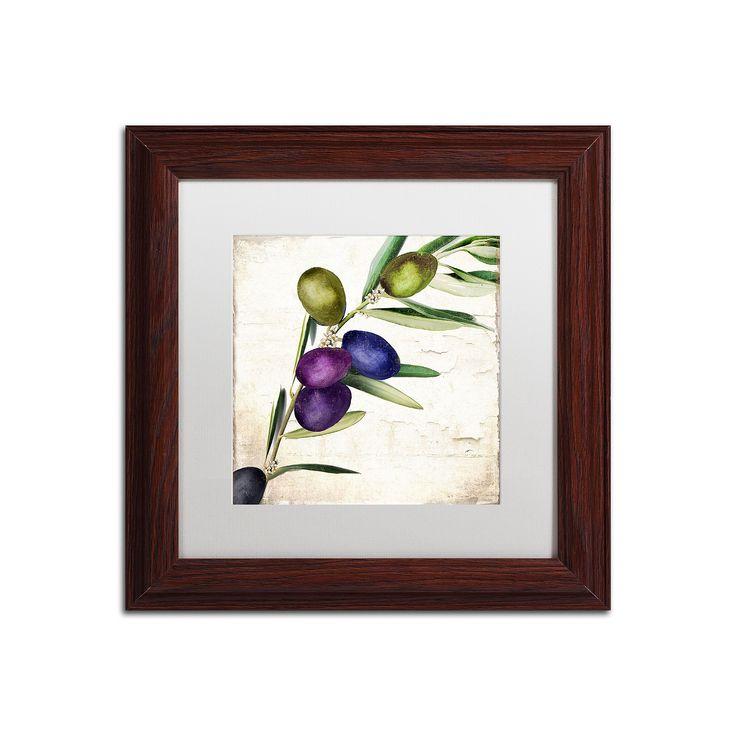 Trademark Fine Art Olive Branch III Traditional Framed Wall Art, White