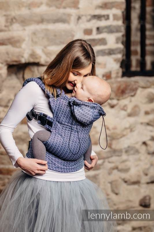 ERGONOMIC CARRIER, TODDLER SIZE, JACQUARD WEAVE 60% COTTON, 40% BAMBOO - WRAP CONVERSION FROM LITTLE LOVE - AQUA, SECOND GENERATION