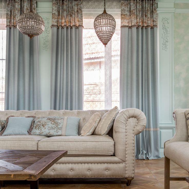Красота в деталях: #шторы и #подушки с отделкой - #хлопок #жуи #TOMS_COLLECTION #Galleria_Arben Дизайнер @fusiondecor #шторы #гостиная