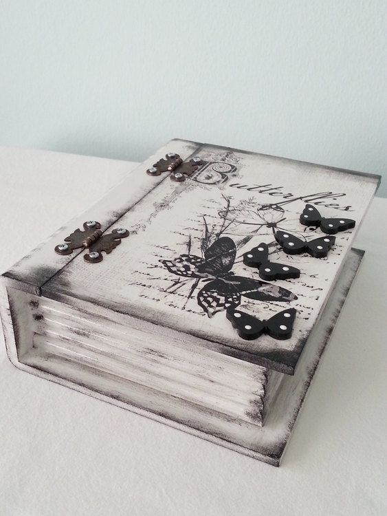Large Wooden Box - Romantic Vintage Style Box - Shabby Jewelry Box - Decoupage Ivory - Gift - Home Decor - Handmade Jewelry Box