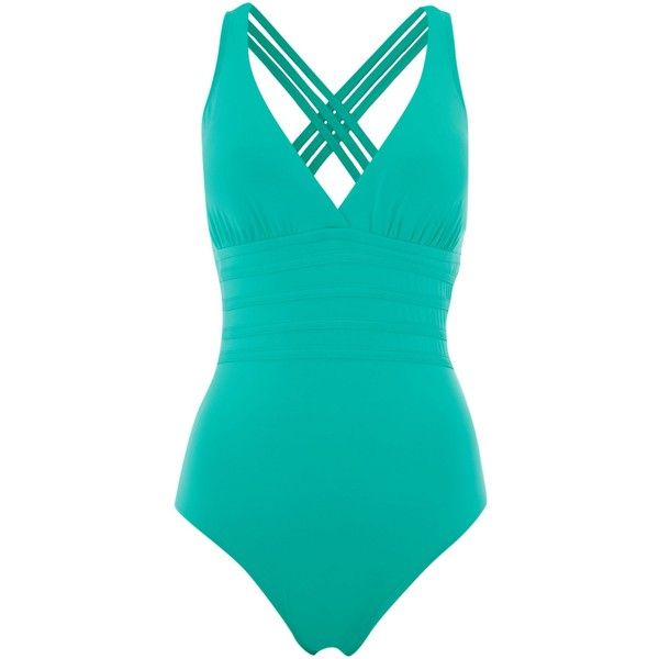 La Blanca Multi strap cross back swimsuit ($120) ❤ liked on Polyvore featuring swimwear, one-piece swimsuits, green, women, green one piece swimsuit, criss cross back swimsuit, la blanca swimwear, swimsuit swimwear and green swimwear