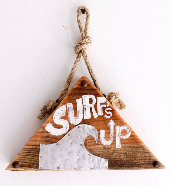 Triangle Surf Sign on Reclaimed Distressed Wood Beach Art Decor Surf Shop Wood Sign Coastal Beach Surf Baby Nursery Beach Themed Kids Room