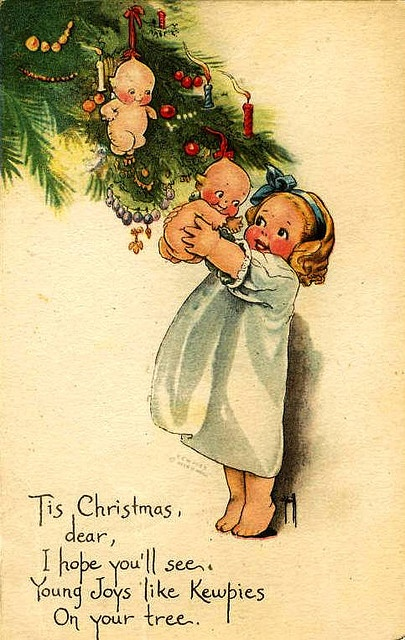 Vintage Postcard ~ Christmas Kewpie
