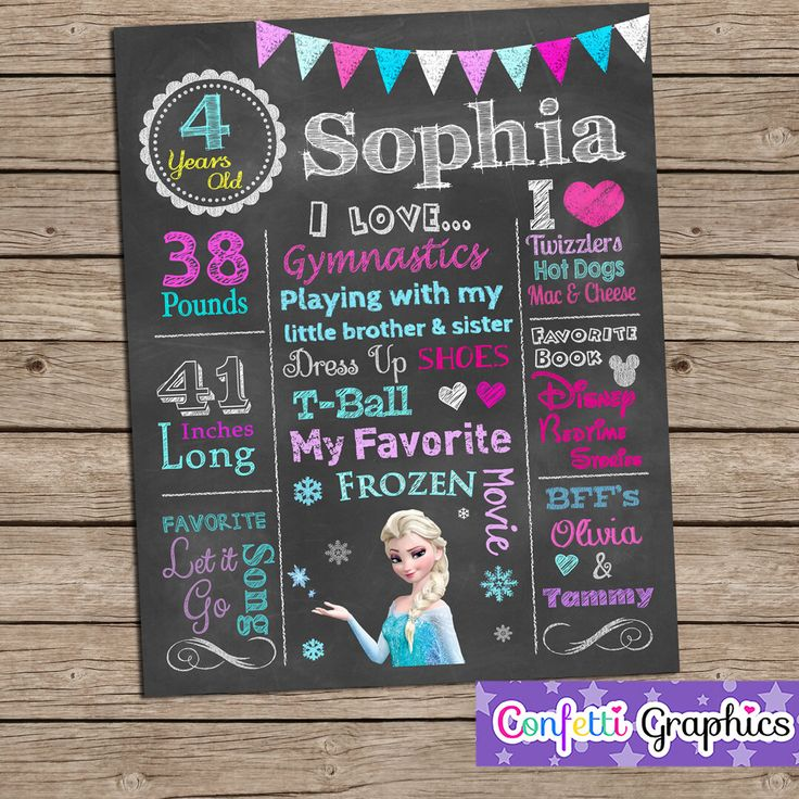 Chalkboard Birthday Sign Poster Any Age Baby's 1 2 3 4 5 Birthday Chalk Girls Cute Frozen Elsa Colorful Printable Custom Personalized by ConfettiGraphics on Etsy https://www.etsy.com/listing/186453723/chalkboard-birthday-sign-poster-any-age