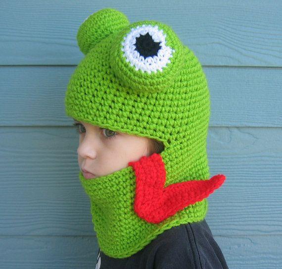 Crochet Pattern Frog Hat Hood for Adult Child Boy or Girl ...