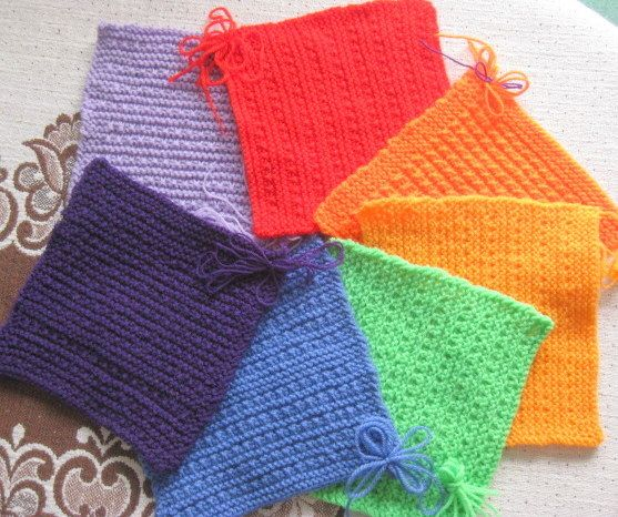 A rainbow of squares from Grace W. To learn more about our organization go to www.knit-a-square.com  To meet our members and see more of our knitting and crochet go to http://forum.knit-a-square.com/