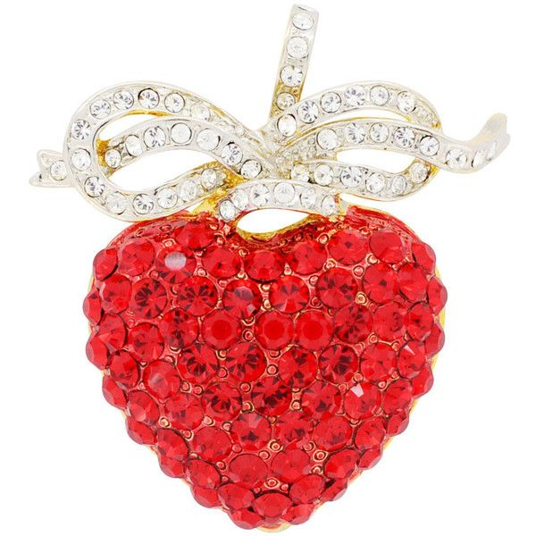 Hyacinth Heart Crystal Bow Pin Crystal Fashion Pin Brooch and Pendant ($33) ❤ liked on Polyvore featuring jewelry, accessories, metal, charm jewelry, swarovski crystal pendant, pendant jewelry, crystal heart pendant and red heart jewelry