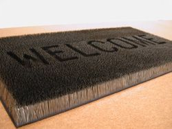 Mona Hatoum's welcome mat made of straight pins