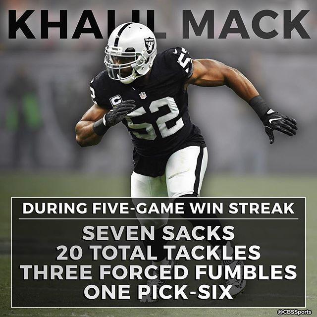 When the Raiders win, Khalil Mack dominates. When Khalil Mack dominates, the Raiders win. Coincidence?