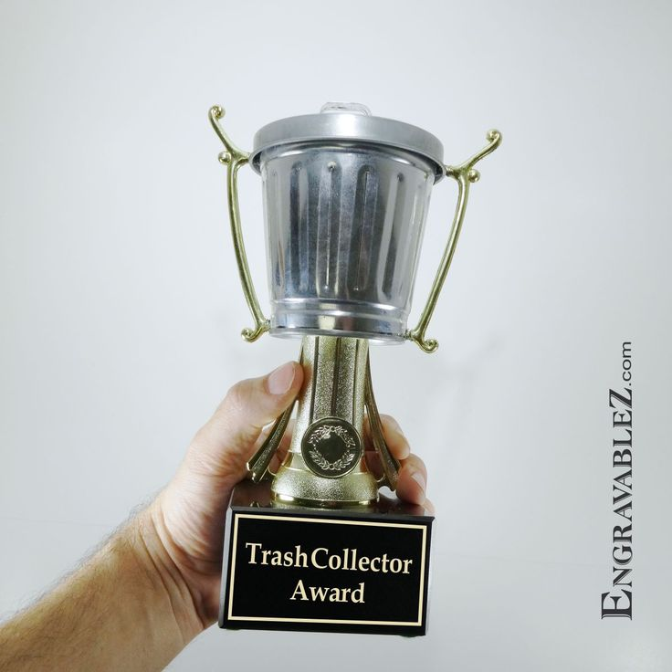 Galvanized steel miniature trash can trophy mounted on a black marble base. #TempeTrophy #Engrazablez