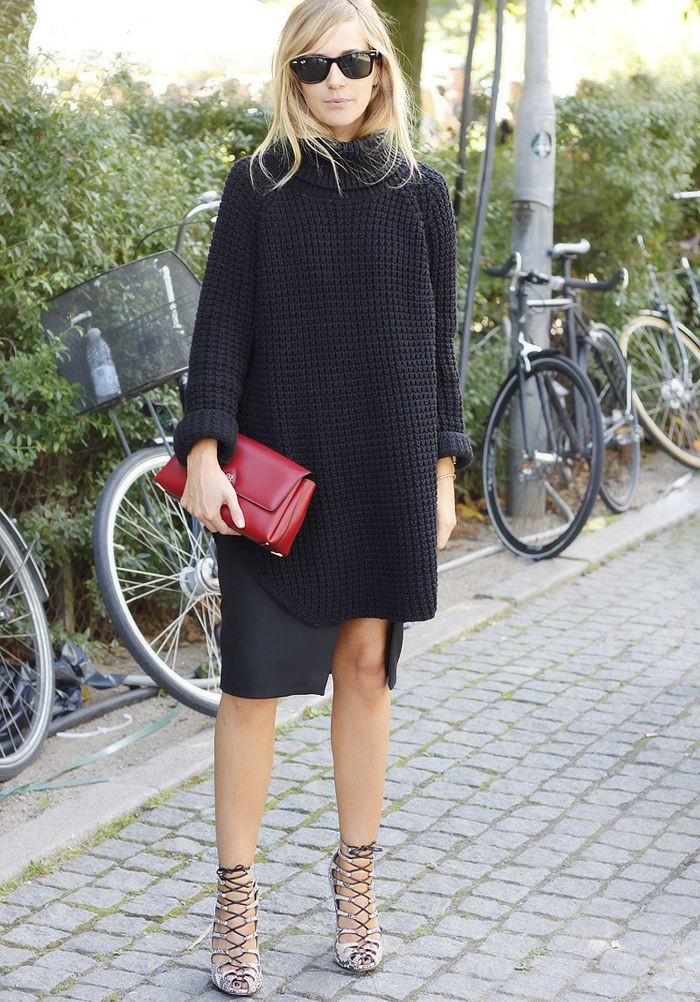 how to pull off sophisticated and sexy black knitwear........ | Emma Elwin
