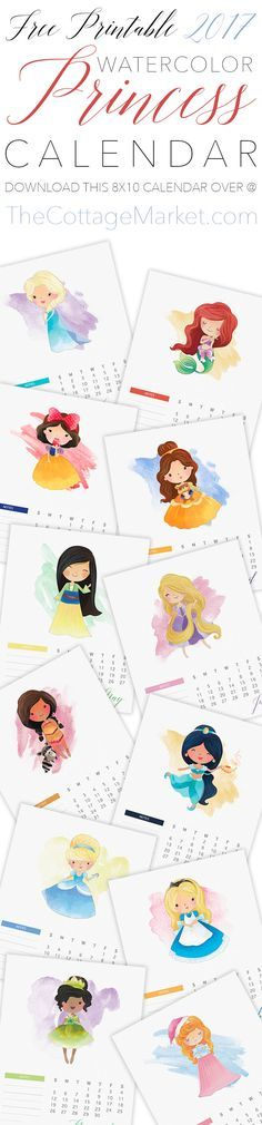 Free Printable 2017 Princess Calendar!