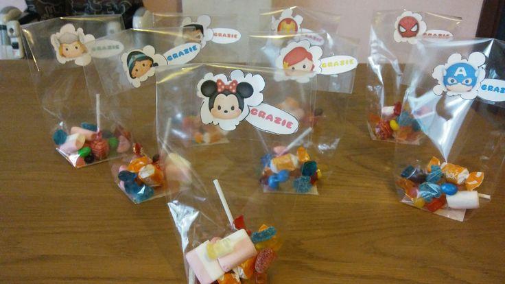 Sacchettini caramelle compleanno tema: tsum tsum Disney