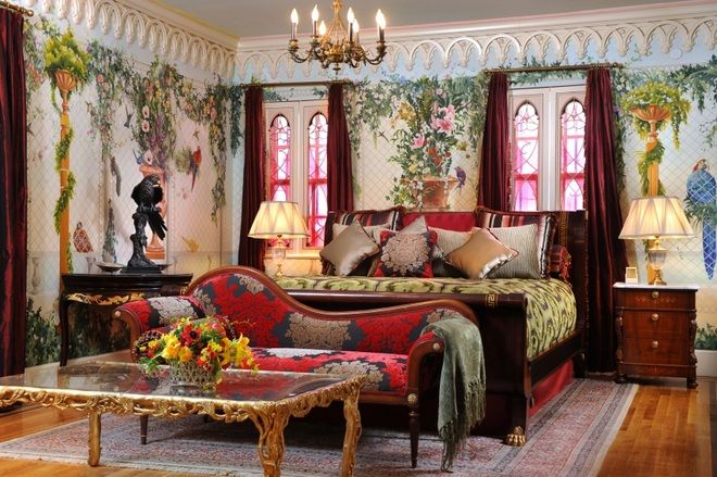 One of the many plush and luxuriously furnished bedrooms at Casa Casuarina, Gianni Versace's house.