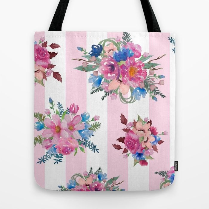 Vintage Floral with Pink stripes Tote Bag by The Willow Wood Studio | Society6