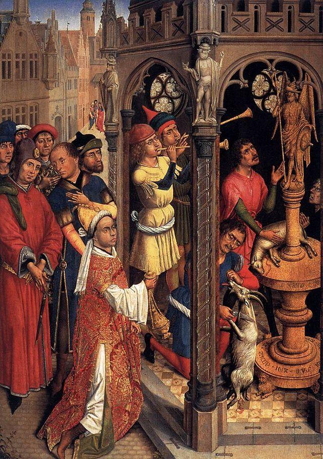 """St Augustine Sacrificing to a Manichaean Idol"". (Séc. XV). Agostinho de Hipona. (Atribuída a by Aert van den Bossche)."