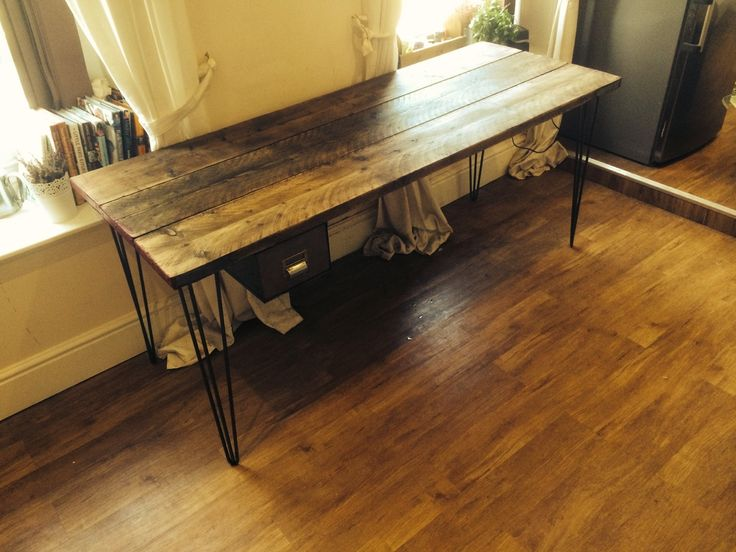 Stunning wooden desk made from recalimed scaffolding boards and hairpin legs with vintage steel drawer by tcindustrialvintage on Etsy https://www.etsy.com/listing/227784340/stunning-wooden-desk-made-from-recalimed