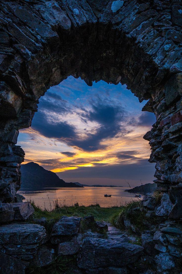 Scotland -- Strome Castle Ruins #uk england sunset sun sunrise sky landscape reflection wilight highlands