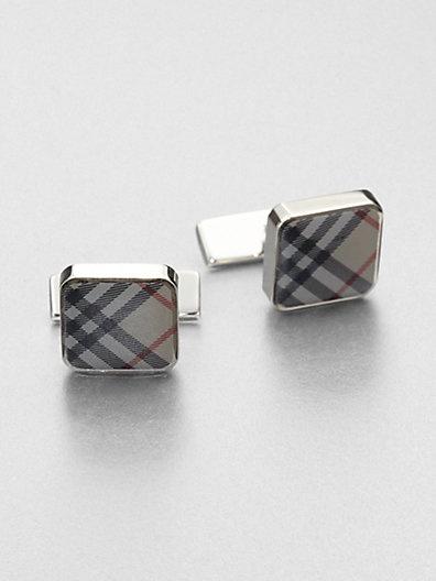 Burberry - Check Square Cuff Links - Saks.com   Men's Fashion/Style ...