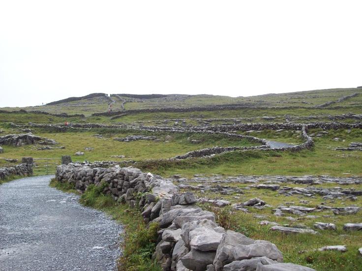 Aran Island of Innish Mor, Ireland.  Dun Angus in the background