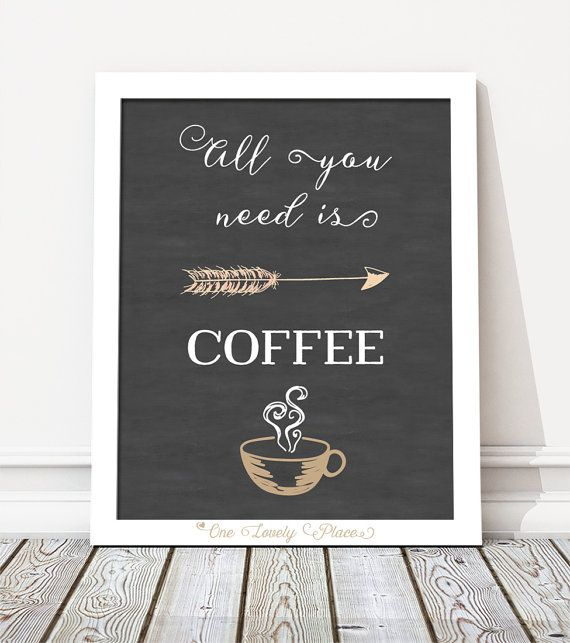 All you need is coffee. Chalkboard quote print by OneLovelyPlace