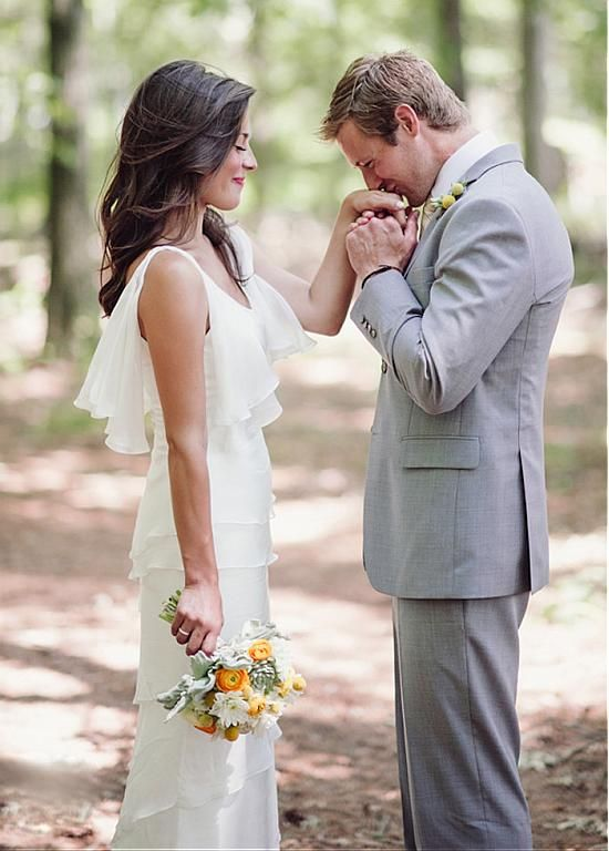 Elegant Chiffon & Stretch Charmeuse Scoop Sheath Wedding Dress