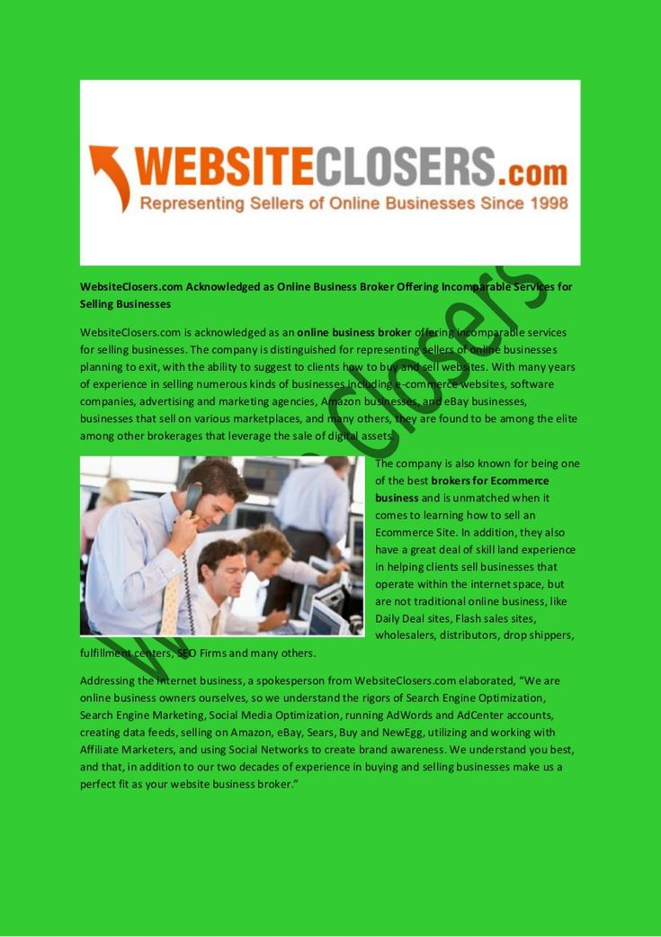 WebsiteClosers.com Acknowledged as Online Business Broker Offering Incomparable Services for Selling Businesses