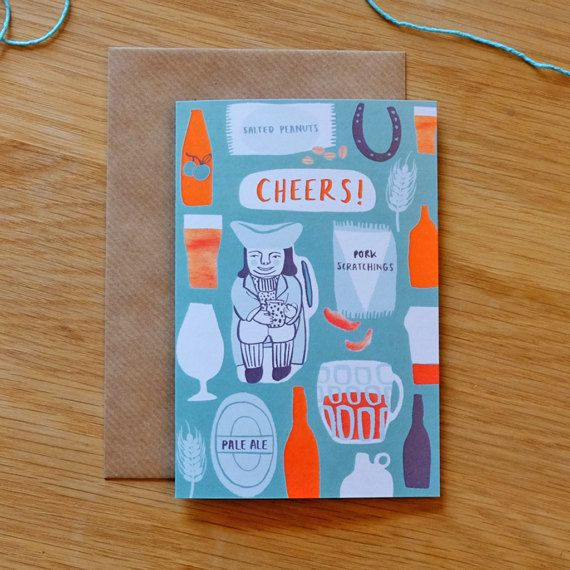 Cheers! illustrated British pub card, perfect for birthdays or excuses to celebrate any old occasion, who are we kidding! By Stephanie Cole Design, 2017  #stationery #card #illustrator #british #pub #pint
