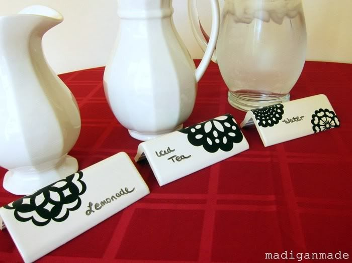 Dry erase boards from white corner tiles - this is SO smart for labeling food at parties!!!