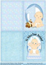 Babys First Birthday Boy A6 CutNFold on Craftsuprint - View Now!