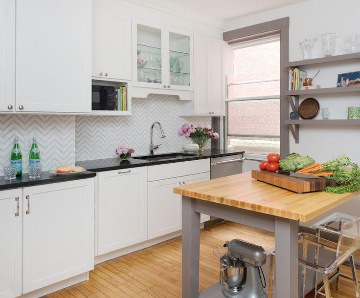 Gray Kitchen Island with Butcher Block Top, Transitional, Kitchen, Sherwin Williams Mink, Pinney Designs