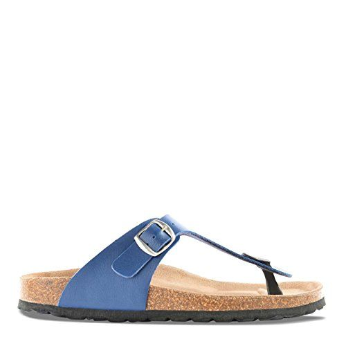Roberto Durville Paris  Dany Womens Navy Blue Synthetic Flat Sandals 42 M EU *** Want additional info? Click on the image.