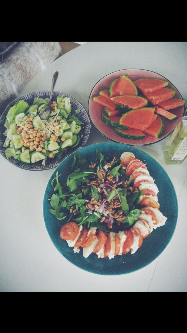 Summer salads. Watermelon caprese walnuts