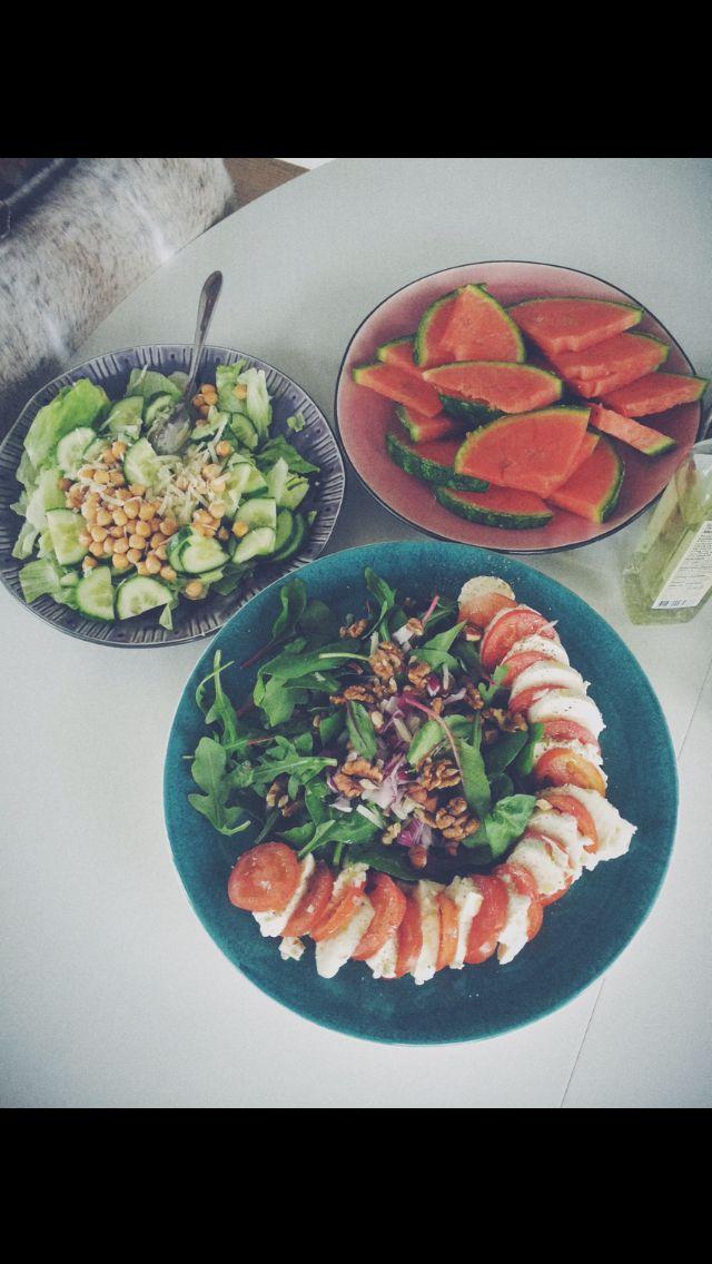 Summer salads. Watermelon caprese walnuts