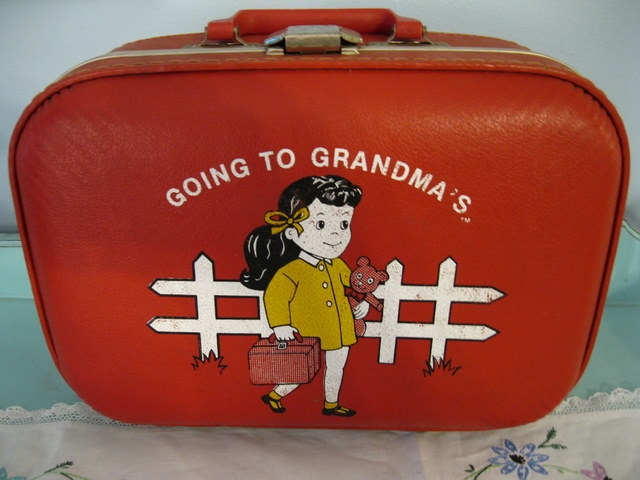 Vintage and Adorable Going To Grandmas Childrens Suitcase Girls Luggage. $15.00, via Etsy.