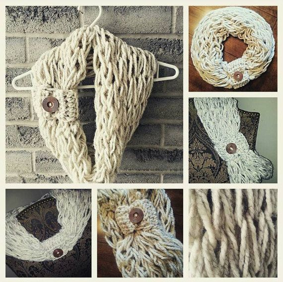 Check out this item in my Etsy shop https://www.etsy.com/listing/264014874/arm-knit-infinity-scarf-infinity-scarf