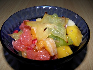 fruit salad with elderflower syrup
