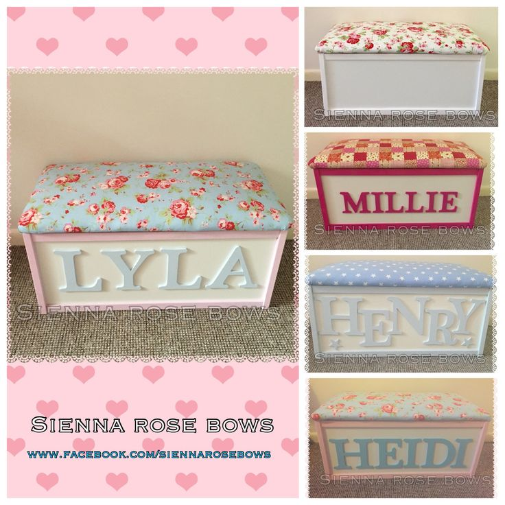 Personalised toy box by SiennaRoseBows on Etsy