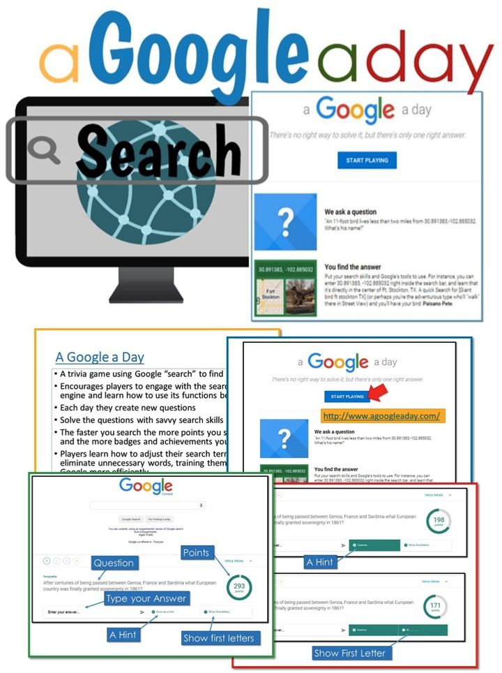 "•	A trivia game using Google ""search"" to find answers •	Encourages players to engage with the search engine and learn how to use its functions better •	Solve the questions with savvy search skills"