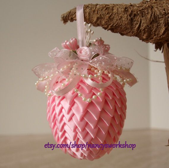 Easter Egg Ornament Made From Ribbon by NancysWorkshop on Etsy